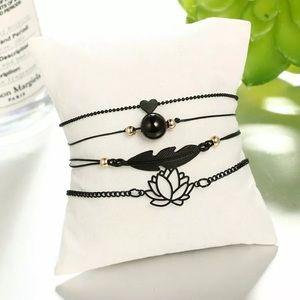 🖤Black 🖤 lotus bracelet set